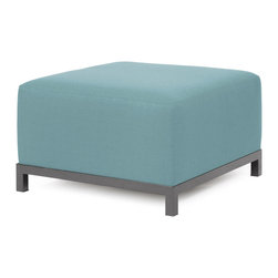 """Howard Elliott - Sterling Breeze Axis Ottoman - Titanium Frame - At the Height of Fashion! Lounge in style on Sterling Axis Ottomans. Float the Sterling Axis Ottoman on its own or pair it up with additional Chair, Corner or Ottoman Pieces. This Chair features boxed cushions with Velcro attachments to keep the cushions from slipping and looking their best all of the time. Your Sterling Axis Ottoman will definitely turn heads with its sophisticated linen-like texture and vibrant color selection. This Sterling Breeze piece is 100% Polyester finished in a soft burlap texture in a light blue breeze color. 30.5""""W x 30.5""""D x 19.5""""H"""