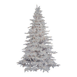 "Vickerman - Flocked White 650LED WmWht (7.5' x 65"") - 7.5' x 65"" Flocked White Spruce Tree 650 LED Frosted Warm White Italian Lights, 1650 PVC tips, metal stand. Utilizes energy-effiecent, durable LED technology."
