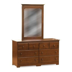 Windsor 6 Drawer Dresser with Portrait Mirror - Antique Walnut - You and your child will love the beauty, simplicity, and classic elegance of the Windsor 6 Drawer Dresser with Portrait Mirror - Antique Walnut. Made to last from infancy through the teenage years, this beautiful dresser is crafted from eco-friendly hardwood with a gorgeous, certified non-toxic, antique walnut finish. Durable hardwood casings and plywood drawers add to the craftsmanship of this dresser. Each drawer is easy to pull out and push in with its smooth rolling, ball bearing design while the English dovetail joinery on the drawers adds to its strength, durability, and longevity. The Windsor Portrait Mirror sits perfectly atop this dresser and is framed in matching wood. Both the dresser and the mirror feature small detailing that adds depth and character to the set. Additional Features Durable hardwood casing Drawers constructed from plywood Ball bearing drawer guides roll smoothly English dovetail joinery on drawers High build finish is certified non-toxic Ships fully assembledAbout Atlantic FurnitureFounded in 1983 as Watercraft, Inc., Atlantic Furniture started as a manufacturer of pine waterbed frames. Since then, the Springfield, Mass.-based company has expanded to Fontana, Calif. The company has moved away from the use of pine and now specializes in imported furniture made of the wood of rubber trees.The Benefits of Eco-Friendly RubberwoodPrized as an environmentally friendly wood, rubberwood makes use of trees that have been cut down at the end of their latex-producing life cycle. The trees are removed by hand and replaced with new seedlings. In the past, felled rubber trees were either burned on the spot or used as fuel for locomotive engines, brick firing, or latex curing. Now the wood is used in the manufacture of high-end furniture. It is valued for its dense grain, stability, attractive color, and acceptance of different finishes.Atlantic's Unique Five-Step Finishing ProcessEach product in the entire line is finished with a high-build, five-step finishing process. After a thorough sanding, a wipe-on sealer is applied, followed by a tinted sealer to even the grain and color of the wood. Additional sanding prepares the surface for the first base color coat, more sanding, and a second base color coat. After a final sanding, the finish coat is applied. This process produces a beautiful and durable finish that will last for years.