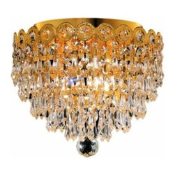 "PWG Lighting / Lighting By Pecaso - Agathe 3-Light 10"" Crystal Flush Mount 1617F10G-SS - This classical Agathe Crystal Chandelier with flowing symmetrical shape and nearly invisible frame offers a striking surge of brilliant light. Sconces and ceiling mounts enhance your room decor."