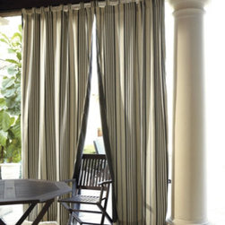 Reversible Outdoor Curtains - I'm a huge fan of outdoor curtains.  I have them on my own screened-in porch and love them.  These curtains caught my eye because they are reversible, stripes on one side, solid on the other.  Great versatility for when you want to swap things up a bit.
