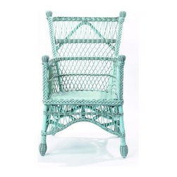 Beehive Wicker Chair-Available in Var - This chair has a wonderful wicker weave and great details like the finials on the legs. It comes in a variety of fun bright colors so it's not your grandma's wicker chair.