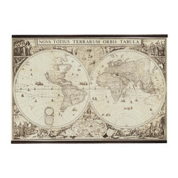 Authentic Models - 1660 Fabric World Map - This large world map can be the perfect accessory to finish up your wall decoration in your den or office. Amsterdam was the world center of cartography in the 17th century, a period when map making was a flourishing business. Maps of faraway lands had to be updated constantly with new data and details brought back by navigators, merchants and explorers. This world map was made in 1660 by Joan Blaeu (who made many other Amsterdam maps).  * Dimensions: 78.7 x 56.7''.