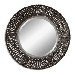 Uttermost - Alita Woven Metal Mirror - The magic this metal mirror weaves is ideal for many of your favorite spaces. It all starts with a generously beveled round mirror and frame and wraps up rustically in black metal strips. You'll love the unique statement this mirror makes in a foyer, powder room or over the mantle.
