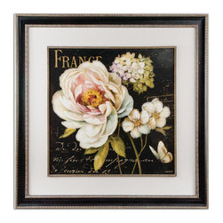 Uttermost - Marche De Fleurs on Black Framed Art - Everything is in bloom with this gorgeous French garden inspired print. You'll adore the stylish frame this botanical beauty comes expertly framed in: black wood with a lovely bronze edge.