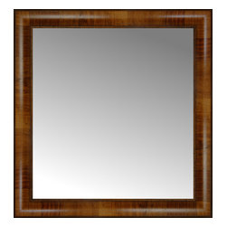"""Posters 2 Prints, LLC - 21"""" x 22"""" Belmont Light Brown Custom Framed Mirror - 21"""" x 22"""" Custom Framed Mirror made by Posters 2 Prints. Standard glass with unrivaled selection of crafted mirror frames.  Protected with category II safety backing to keep glass fragments together should the mirror be accidentally broken.  Safe arrival guaranteed.  Made in the United States of America"""