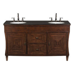 Home Decorators Collection - Fuji Double Vanity - Our Fuji Double Vanity offers room for two during those busy mornings. The 2 undersink cabinets and 2 drawers provide plenty of storage. The design details of this classic piece include tapered legs, a black granite top, brass hardware and an antiqued, contrastive finish. Black granite top. Old walnut finish with antique brass hardware. Full extension drawer slides and soft close doors.