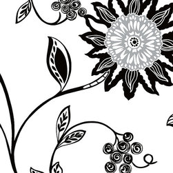 """Patton - Bw28732 Black And White Contemporary Floral Wallpaper - BW28732 from Black & White 2 is a 20.5""""/52 cm wide wallpaper with a contemporary floral pattern in white , black and silver.  This collection from Patton is prepasted and solid vinyl."""