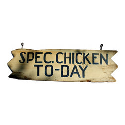"Chicken Dinner Sign - This is so fun with the folky hand painted blue lettering.  I love how they spelled ""to-day"" and how the edges of the sign are zig zagged.  Has the original hooks if you want to hang it that way or you can use the provided hanger.  The back looks almost identical to the front.  The paint is really fresh and perfect for an accent in your kitchen or family room."