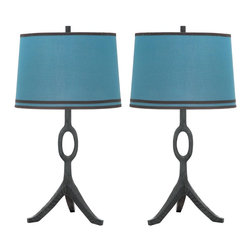 Safavieh - Packwood Table Lamp ZMT-TMF8000C (Set of 2) - Dusk Blue; Blue Shade - Earthy meets refined in the wood-grained Packwood table lamp by celebrity designer Thom Filicia. With its dusk blue base and coordinating linen shade trimmed with black decorator tape, this set of lamps moves effortlessly from urban loft to beach house. (Sold in set of 2).