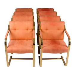 Mies Van der Rohe BRNO Chairs, - You would have to be crazy to pass up a set of eight original Mies Van der Rohe cantilever chairs in the original salmon suede upholstery.
