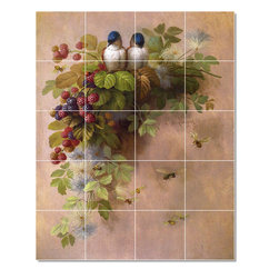 Picture-Tiles, LLC - Birds Bees And Berries Tile Mural By Paul De Longpre - * MURAL SIZE: 21.25x17 inch tile mural using (20) 4.25x4.25 ceramic tiles-satin finish.
