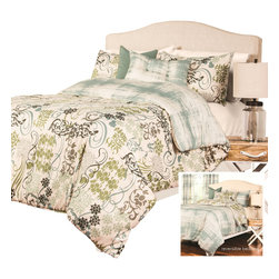SIS Covers - SIS Covers Ornamental Duvet Set - 6 Piece California King Duvet Set - 5 Piece Twin Duvet Set Duvet 67x88, 1 Std Sham 26x20, 1 16x16 dec pillow, 1 26x14 dec pillow. 6 Piece Full Duvet Set Duvet 86x88, 2 Std Shams 26x20, 1 16x16 dec pillow, 1 26x14 dec pillow. 6 Piece Queen Duvet Set Duvet 94x98, 2 Qn Shams 30x20, 1 16x16 dec pillow, 1 26x14 dec pillow. 6 Piece California King Duvet Set Duvet 104x100, 2 Kg Shams 36x20, 1 16x16 dec pillow, 1 26x14 dec pillow6 Piece King Duvet Set Duvet 104x98, 2 Kg Shams 36x20, 1 16x16 dec pillow, 1 26x14 dec pillow. Fabric Content 1 100 Polyester, Fabric Content 2 100 Polyester, Fabric Content 3 100 Polyester. Guarantee Workmanship and materials for the life of the product. SIScovers cannot be responsible for normal fabric wear, sun damage, or damage caused by misuse. Care instructions Machine Wash. Features Reversible Duvet and Shams.