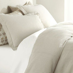 Vintage Ticking Stripe Duvet Cover & Sham, Neutral - I love this stone-colored duvet and shams from Pottery Barn. Light-colored bedding can make your bedroom feel serene and relaxing, making for the best nights sleep.