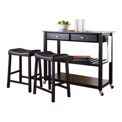 Crosley Furniture - Crosley Solid Black Granite Top Kitchen Cart/Island with Stools in Black - Crosley Furniture - Kitchen Carts - KF300544BK