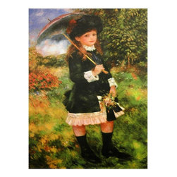 "Oriental Furniture - Young Girl with Parasol' Canvas Wall Art - Renoir loved to paint girls, 19th century Paris clothing and fashion, landscapes and sunshine. He liked to paint people and their accessories, and as this young lady posed with her small umbrella and bouquet, her face reflects the flattery and boredom someone of her age would likely feel, under the circumstances. Distinctive wall decor can ""make"" a room."
