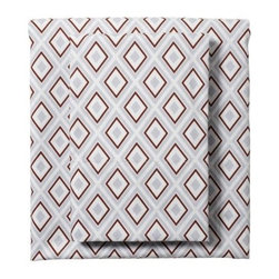 Serena & Lily - Air/Chocolate Diamond Sheet Set - A smart geometric pattern in chambray and chocolate adds depth and dimension to the bed.
