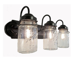 Bathroom Mason Jar TRIPLE Vanity Wall Sconce Light, Oil Rubbed Bronze - You just can't get any better than this if you want a cool vanity bathroom light. Each jar carries its own history and can vary in 'age' marks, brand, graphics and more while showing off the original wire bales.