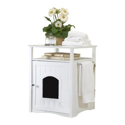 Merry Products - Cat Washroom/Nightstand Pet House in White - Designed to look match existing bathroom cabinets with wainscoting panels. Can also serve as a Night Stand / Side Table Pet House for small dogs. Confines all litters messes inside. Hide away messy Pet Beds. Useful shelf space and interchangeable Stainless Steel towel bar for many organizing options. Easy to clean. Litter box not included. White finish. External: 18 in. W  x 20 in. D x 25 in. H. Internal: 16.5 in. W  x 18.5 in. D x 18.5 in. H. Door: 7 in. W x 8 in. H