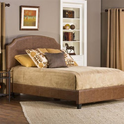 Hillsdale Furniture - Bed Set with Rails (King) - Choose Size: KingClassically shaped headboard outlined with a gold-toned nail head trim. Covered in a weathered brown faux leathers. Requires a mattress and box spring. Some assembly required. 63.8 in. W x 86.6 in. D x 53.5 in. H (74 lbs.)