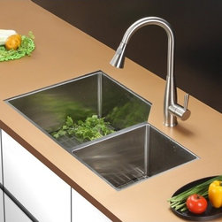 Ruvati - Ruvati RVC2350 Stainless Steel Kitchen Sink and Stainless Steel Faucet Set - Ruvati sink and faucet combos are designed with you in mind. We have packaged one of our premium 16 gauge stainless steel sinks with one of our luxury faucets to give you the perfect combination of form and function.