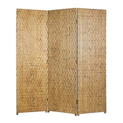 GILDED SCREEEN - A 3 panel screen made of patterned wood panelling.   The screen has a unique gold metallic finish with subltle brown and black accents to complement the screen.