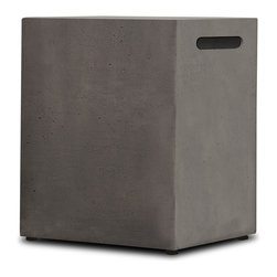 Real Flame - Real Flame Baltic Glacier Grey LP Tank Cover - This Baltic LP tank cover from Real Flame is cast from a high-performance,lightweight fiber-concrete with an outdoor-safe finish. This tank cover will conceal your 20-pound LP tank even while in use.