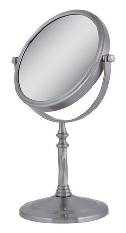 Zadro Products - Zadro 5X/1X Swivel Satin Nickel Vanity Mirror Multicolor - VAN45 - Shop for Bathroom Mirrors from Hayneedle.com! The dual-sided function of the Zadro 5X/1X Swivel Satin Nickel Vanity Mirror comes together with traditional design to give you a tool that can only enhance your dressing area or bathroom. Swiveling smoothly in the satin nickel-finished metal base the 5.25-inch mirror offers 1X magnification on one side and 5X magnification on the other.About Zadro ProductsZadro Products has been a leading innovator in bath accessories mirrors cosmetic accessories and health products for over 25 years. Among the company's innovations are the first fogless mirror first variable magnification mirror first surround light mirror and more. Not a company to rest on its laurels Zadro continues to adapt to the ever-changing needs of modern life.
