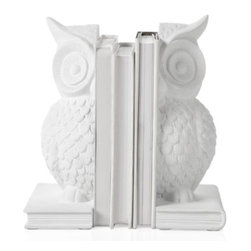 Z Gallerie - Owl Bookends - Set of 2 - Appropriate to the task, our white Owl Bookends fortify your library with this symbol of wisdom. Intricately detailed with feathers and finery, the matte white owl divides and conquers to provide structure to your library.