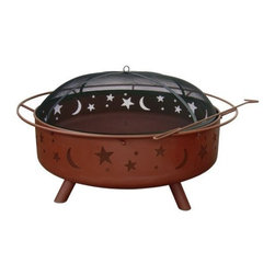 Landmann - Super Sky Fire Pit Black - This large Fire Pit in Georgia Clay finish from Landmann USA has a 36.5 inch fire bowl with 41 percentmore burn space than the regular Big Sky Fire Pits.  It provides a 360 degree view of the fire.  Unique and decorative Stars and Moons cutouts create an incredible ambiance at night.  Its sturdy steel construction is designed for easy assembly.  It has a Safety Ring handle for easy transport.  Black spark screen and poker are included.  Burn Surface Area  962 sq. in.  Measures  43X43X23.  Weighs  49 lbs.  This item cannot be shipped to APO/FPO addresses. Please accept our apologies.