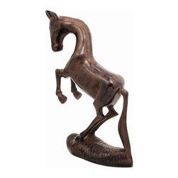 Achla - Trotting Horse Garden Statue - Aluminum w antiqued Bronze finish. 5.5 in. W x 14 in. L x 20.75 in. H
