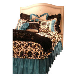 Artistic Sensations - Full Size Turquoise, Black and White Damask & Toile Girls Bedding Set - Our sophisticated turquoise, black and white damask print and toile bedding collection is made in beautiful fabrics of cottons, tafettas and silks. This full set includes a black and white damask coverlet, a turquoise dust ruffle, three euro shams, two standard shams, and three throw pillows. Cascading black and whites ruffles and toile accents with turquoise and made to order pillows, this trendy and luxurious set will amaze your daughter.