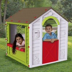 Keter Holiday Playhouse - Ideal for fun indoors and out the Keter Holiday Playhouse is perfect for creative little minds who love to play and pretend. Its durable lightweight construction is fade- and weather-resistant making it perfect for play time outside. Once the weather changes take the fun inside! Featuring vibrant colors a working half door and large open windows this cute cottage will be their favorite place to bring friends and family. About KeterFor over 60 years Keter Plastic has proven its commitment to innovation quality and design by continually meeting changing needs and trends. Keter's product range reaches a consumer base across the world focusing on outdoor furniture and storage with a commitment to the environment.