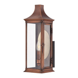 Quoizel Lighting - Quoizel SLM8406AC Salem 1 Light Outdoor Wall Light, Aged Copper - This collection gives you the historic look of gas lighting, but without the hassle of a propane feed. It is all electric and solid copper, giving your home the romantic, reproduction style of antique gas lights still popular today on many charming homes.