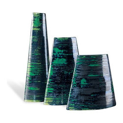 Interlude - Interlude Serenity Envelope Vases - Set of 3 - Set of three porcelain vases with graphite and emerald finish.