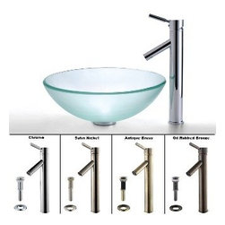 Kraus - Kraus Frosted Glass Vessel Sink and Sheven Faucet Satin Nickel - *Add a touch of elegance to your bathroom with a glass sink combo from Kraus