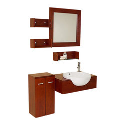 Fresca - Fresca Stile Modern Bathroom Vanity w/3 Wall Mounted Shelves & Side Cabinet - Cubist, modular, geometric — you choose the best description for this retro bathroom set. Channeling an early 20th century design, the simple, elegant lines and contrasting white ceramic sink and dark wood make this versatile combo a game-changer if you are looking for a DIY solution to renovate your passe bathroom decor.