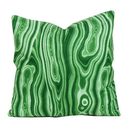Society Social - Marbled Pillow, Malachite - It's part malachite, part psychedelic, and, when done in kelly green, guaranteed to catch your eye. Why not blend this conversation piece with pillows in geometric patterns for a bit of contrast?