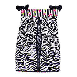 Trend Lab - Trend Lab Zahara Crib Bedding Set - Diaper Stacker - Keep your diapers organized concealed and close at hand with the Zahara Diaper Stacker by Trend Lab. Diaper stacker body features a black and white zebra print. A black and white stripe print with paradise pink and electric lime floral accents across the top and black satin trim completes this convenient storage option. Ties allow for easy attachment to most dressers and Changing tables. Measures 12 x 8 x 20 and holds up to three dozen diapers. This diaper stacker coordinates with the Zahara collection.