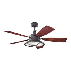 "Kichler - 52"" Harbour Walk Patio 52"" Ceiling Fan Distressed Black - Kichler 52"" Harbour Walk Patio Model KL-310102DBK in Distressed Black with Reversible ABS Outdoor Cherry/Medium Walnut Finished Blades."