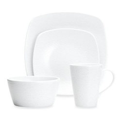 Noritake - Noritake WoW Snow 4-Piece Square Place Setting - The WoW (White-on-White) Snow collection features a contemporary tone on tone surface design with an all over snow effect that adds beautiful dimension to any table.