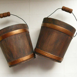 Rustic Wood Bucket by Dab Hands - I think these rustic buckets could be used in so many ways. Fill them with flowers and then line them down the center of the dining table or hang them on the backs of dining chairs with wide grosgrain ribbons.