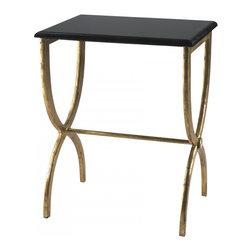 "Joshua Marshal - Antique Gold and Black 25"" Black With Gold Legs Accent Table - Antique Gold and Black 25"" Black With Gold Legs Accent Table"