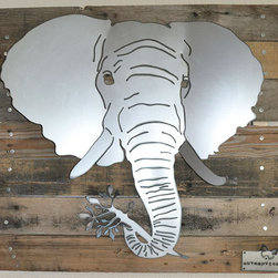 Elephant head (rusted metal) on turquoise wood frame - Made out of steel, mounted on a reclaimed wood.