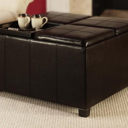 Convenience Concepts - Times Square Ottoman with Four Tray Tops in E - Solid wood frames for strength. PVC fabric for durability and easy cleaning. Four tops flip to painted MDF serving tray. Stitching detail on ottoman tops. Foam padding. Limited warranty. No assembly required. 34.5 in. L x 34.5 in. W x 19.5 in. H (48.5 lbs.)
