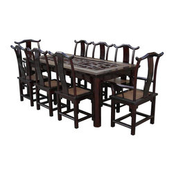 Golden Lotus - Vintage Chinese Open Panel Rattan Mix Dinning Set - This dark brown elm wood dinning table set is featuring the use of old open space Ru-Yi carving panel in the center. Light brown color rattan is mixed with solid elm wood to increase the touch of Asian element. There are six pieces of guest chairs and two pieces of master chairs. They all follow the style of traditional Chinese high yoke-back armchair with elegant S-shaped splat.