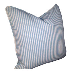 PillowFever - Cotton pillow cover in Spa and off white color stripes with pipping - Pillow insert is not included!