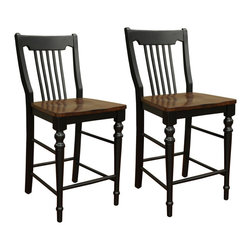 American Heritage - American Heritage Homestead Counter Stool (Set of 2) - The Homestead 26'' Two Tone Counter Stool is crafted of solid wood with tongue and groove corner blocks to ensure years of durable use. The rich Suede brown finish seat is a perfect accent that stands out against the counter height chair's black backrest and legs. Designed to bring you great comfort, this country style seating option is also furnished with footrest.
