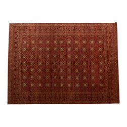 1800-Get-A-Rug - Oriental Rug Rust Red Hand Knotted Rug Antiqued Khotan Sh10321 - About Wool Pile