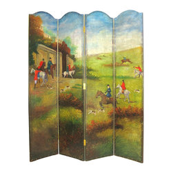 Wayborn - Wayborn Hand Painted Hunting Game Scene Room Divider - Wayborn - Room Dividers - 2269 - Wayborn hand painted screens start with a cedar plywood frame covered in a cheesecloth material. Then layer after layer of plaster is applied; each layer must dry before another layer can be applied. After all the plaster has been applied several coats of lacquer is put over the entire surface. At that time the artist begins to sketch out the painting directly on the panels of the screen and begins painting the design with water based paint.  Each one of these screens has its own characteristics and is truly a work of art.